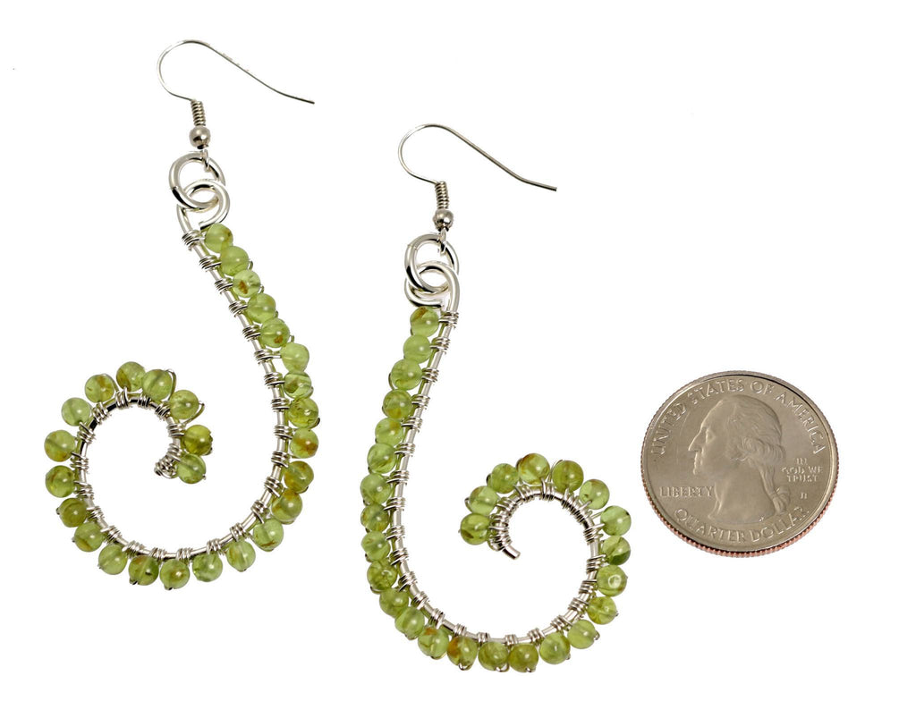Peridot Wire Wrapped Sterling Silver Scroll Earrings - johnsbrana - 2