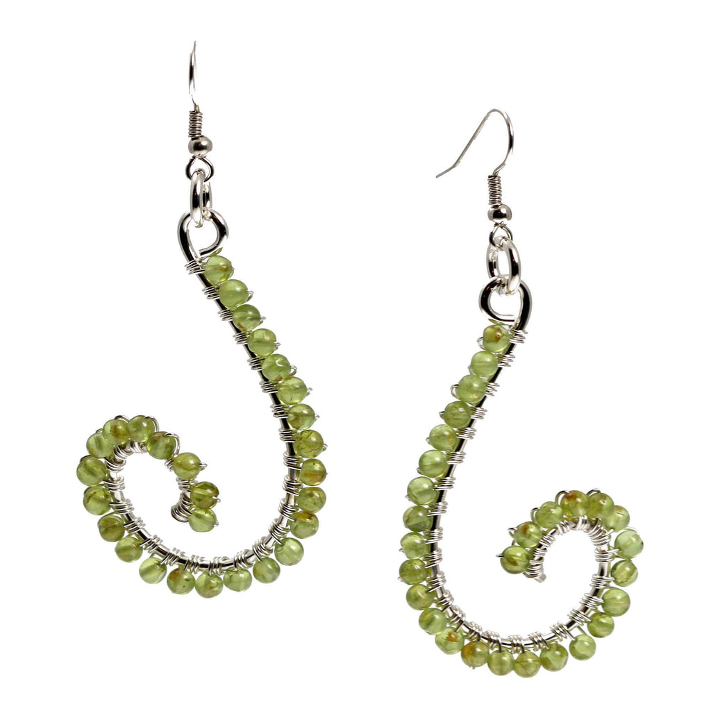 Peridot Wire Wrapped Sterling Silver Scroll Earrings - johnsbrana - 3
