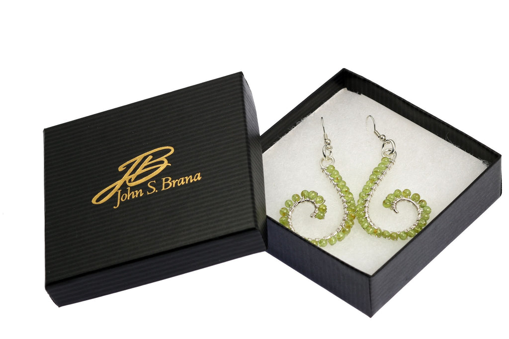 Peridot Wire Wrapped Sterling Silver Scroll Earrings - johnsbrana - 4