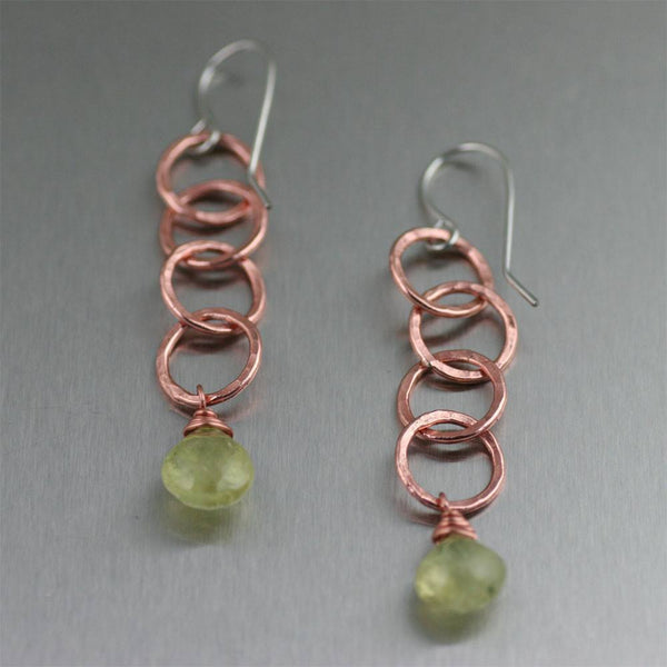 Earrings - Prehnite Hammered Copper Chandelier Earrings