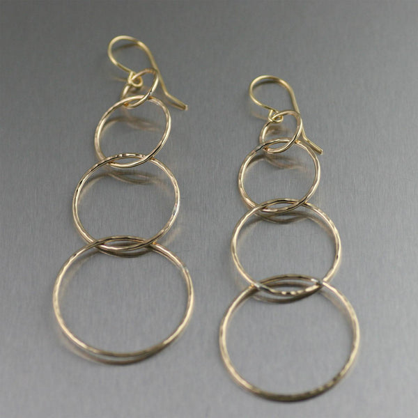 Quadruple Tiered Hammered Nu Gold Brass Dangle Earrings - johnsbrana - 1