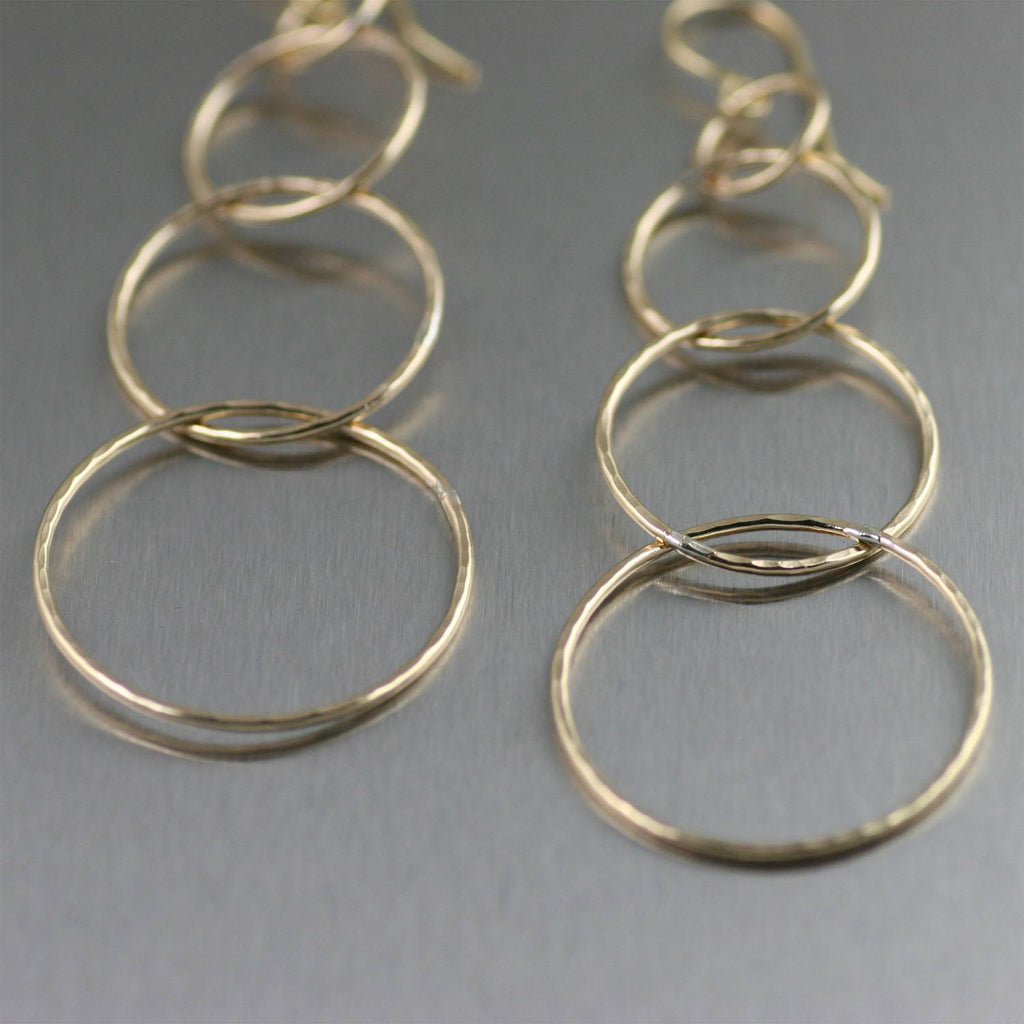 Quadruple Tiered Hammered Nu Gold Brass Dangle Earrings - johnsbrana - 2