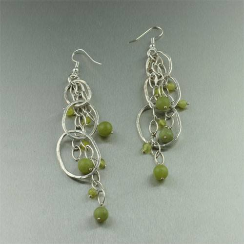 Earrings - Serpentine Hammered Fine Silver Earrings