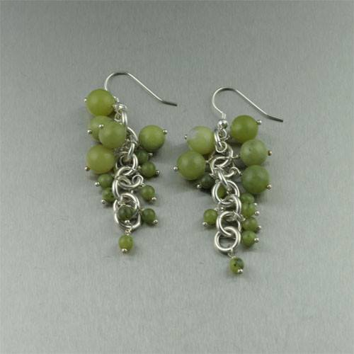 Earrings - Serpentine Sterling Silver Chainmail Earrings