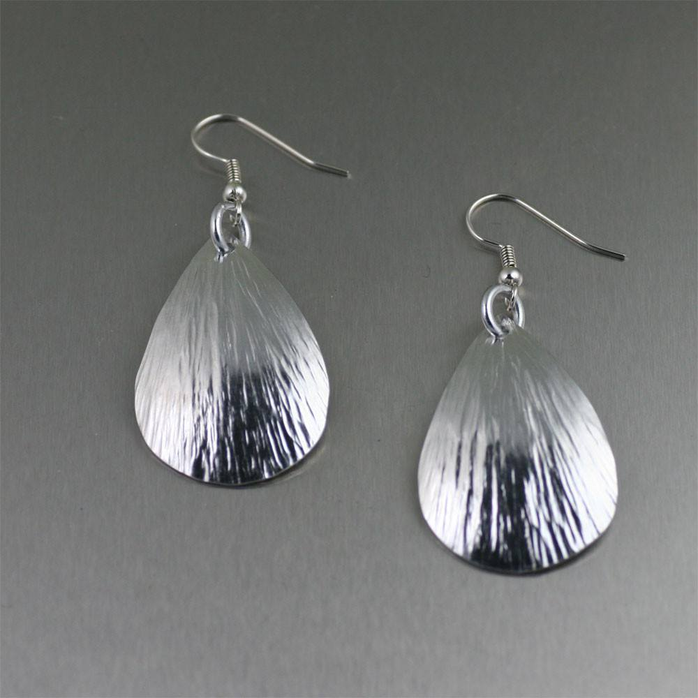 Small Aluminum Bark Tear Drop Earrings - johnsbrana