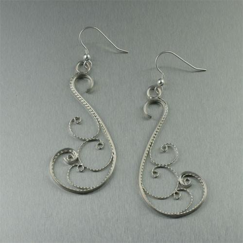 Sterling Silver Filigree Open Scroll Earrings - johnsbrana