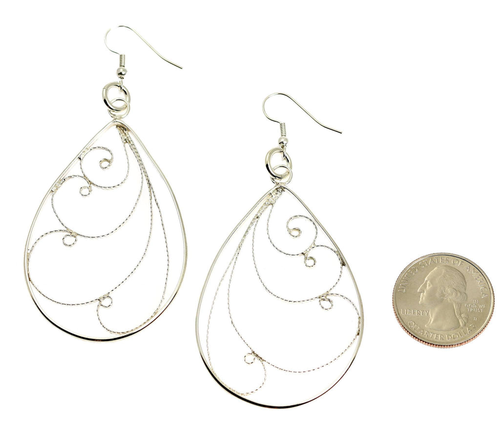 Sterling Silver Filigree Scroll Earrings - johnsbrana - 2