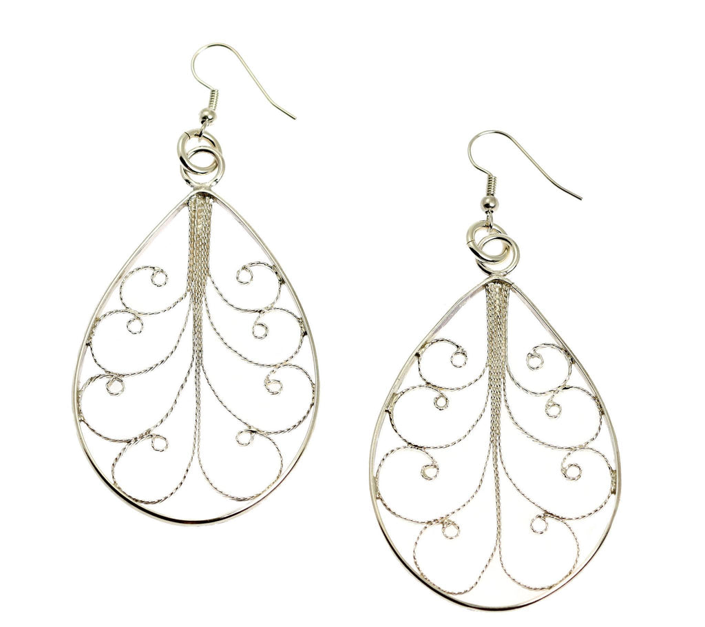 Sterling Silver Filigree Tear Drop Scroll Earrings - johnsbrana - 1