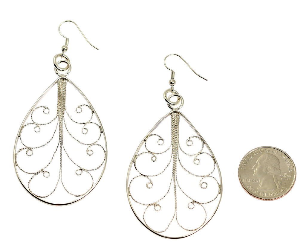 Sterling Silver Filigree Tear Drop Scroll Earrings - johnsbrana - 2