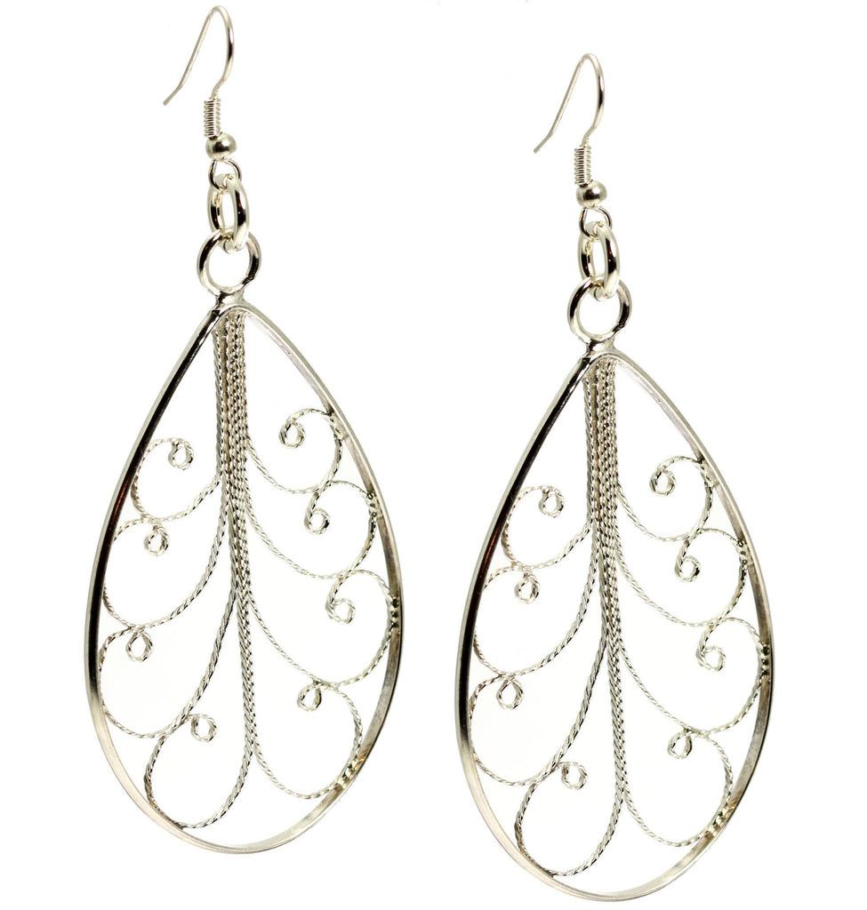 Sterling Silver Filigree Tear Drop Scroll Earrings - johnsbrana - 3