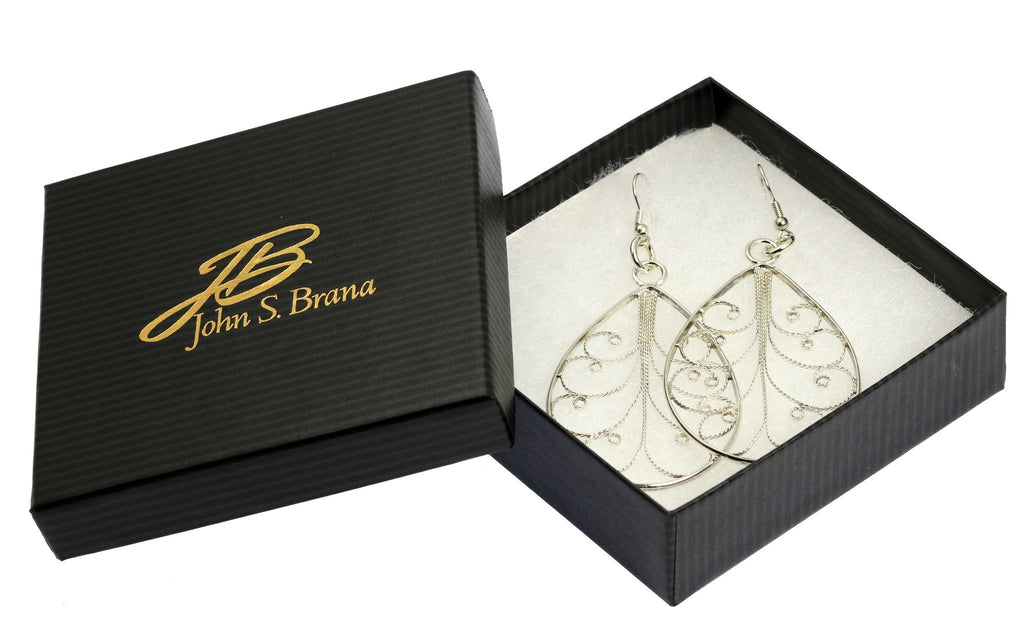 Earrings - Sterling Silver Filigree Tear Drop Scroll Earrings