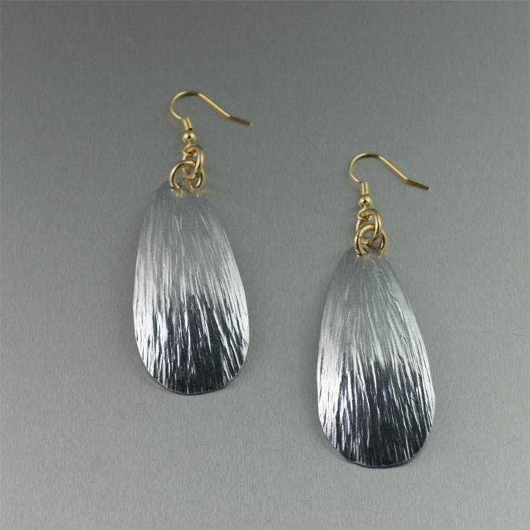 Earrings - Tear Drop Aluminum Bark Earrings - Large