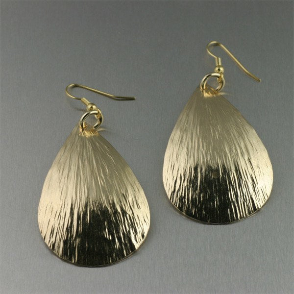 Tear Drop Nu Gold Bark Earrings - Large - johnsbrana