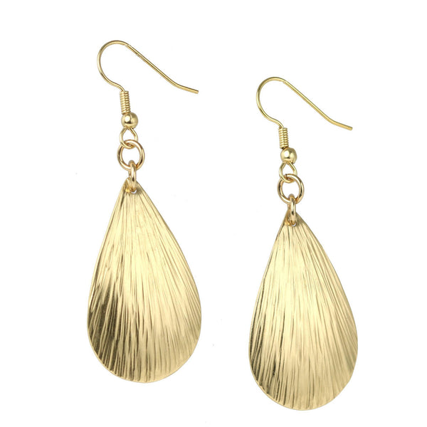 Tear Drop Nu Gold Bark Earrings - Small - johnsbrana - 1