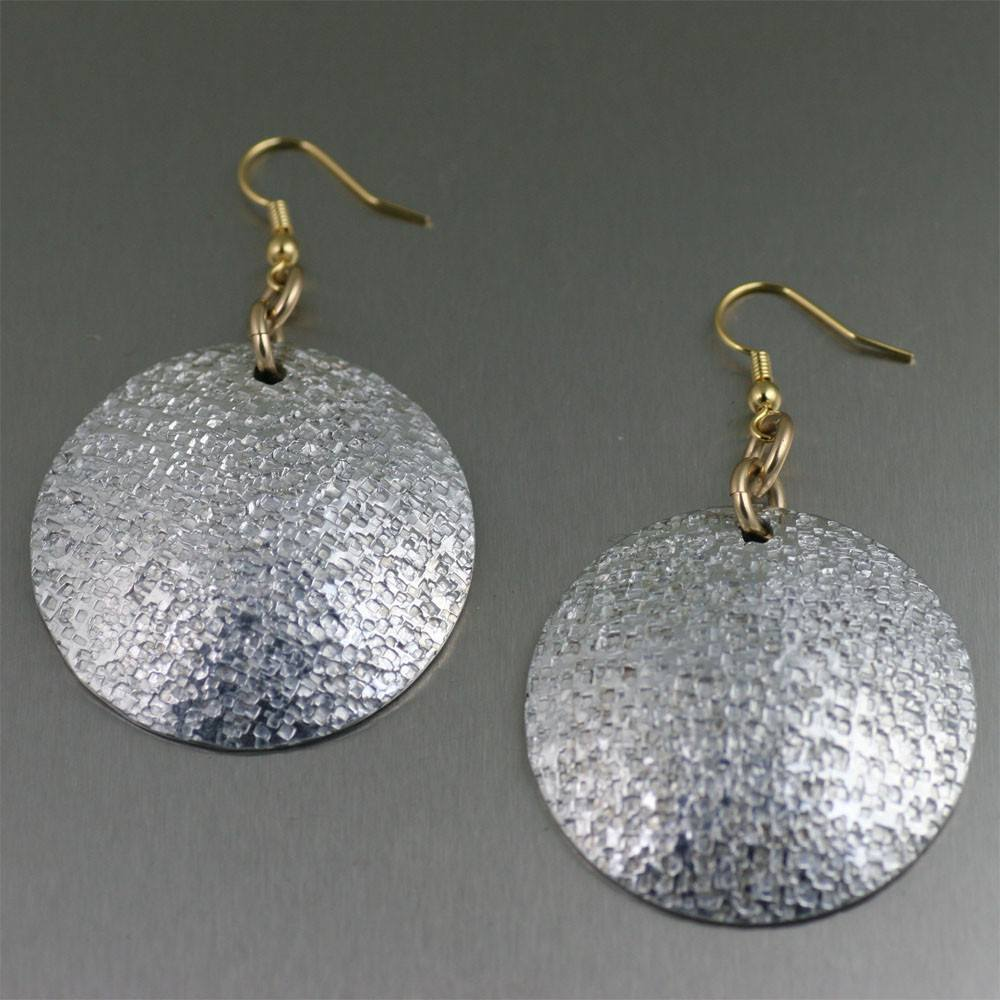 Texturized Aluminum Disc Drop Earrings - johnsbrana