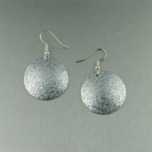 Texturized Aluminum Disc Earrings - johnsbrana