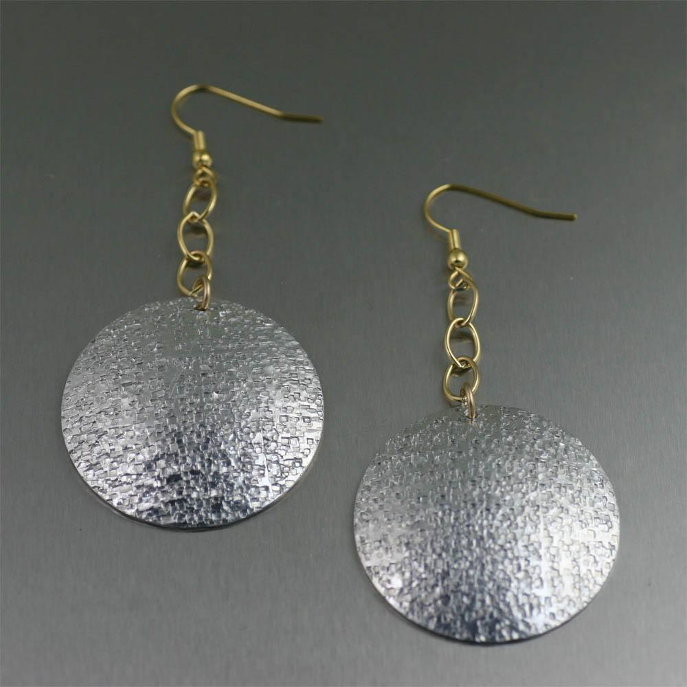 Earrings - Texturized Aluminum Disc Earrings