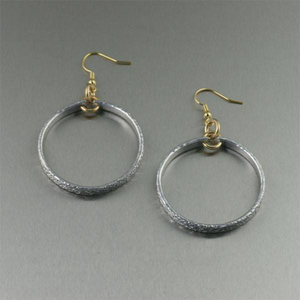Texturized Aluminum Hoop Earrings - Small - johnsbrana - 1