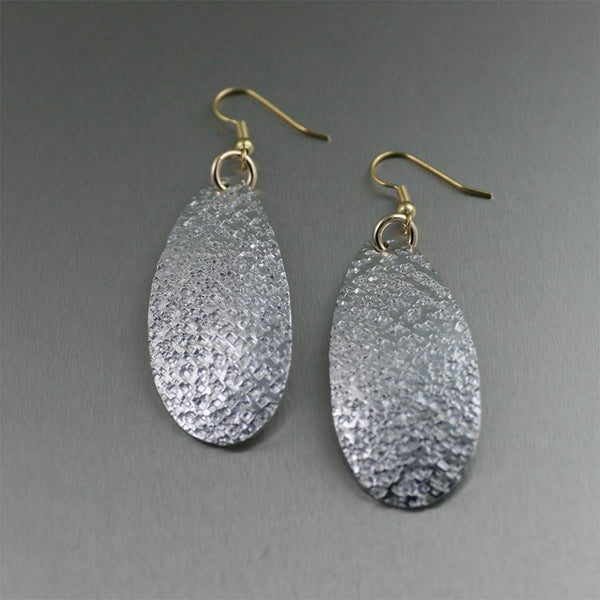 Texturized Aluminum Tear Drop Earrings - johnsbrana