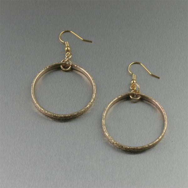 Texturized Nu Gold Hoop Earrings - Small - johnsbrana - 1