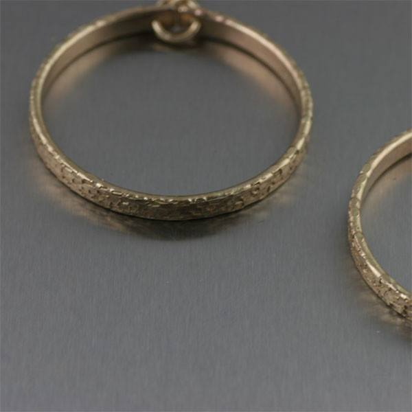 Texturized Nu Gold Hoop Earrings - Small - johnsbrana - 2