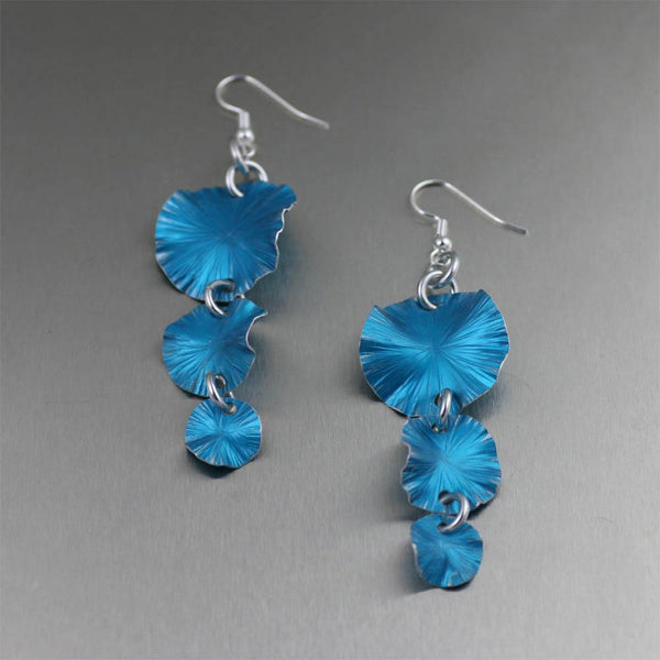 Three Tiered Blue Anodized Aluminum Lily Pad Earrings - johnsbrana