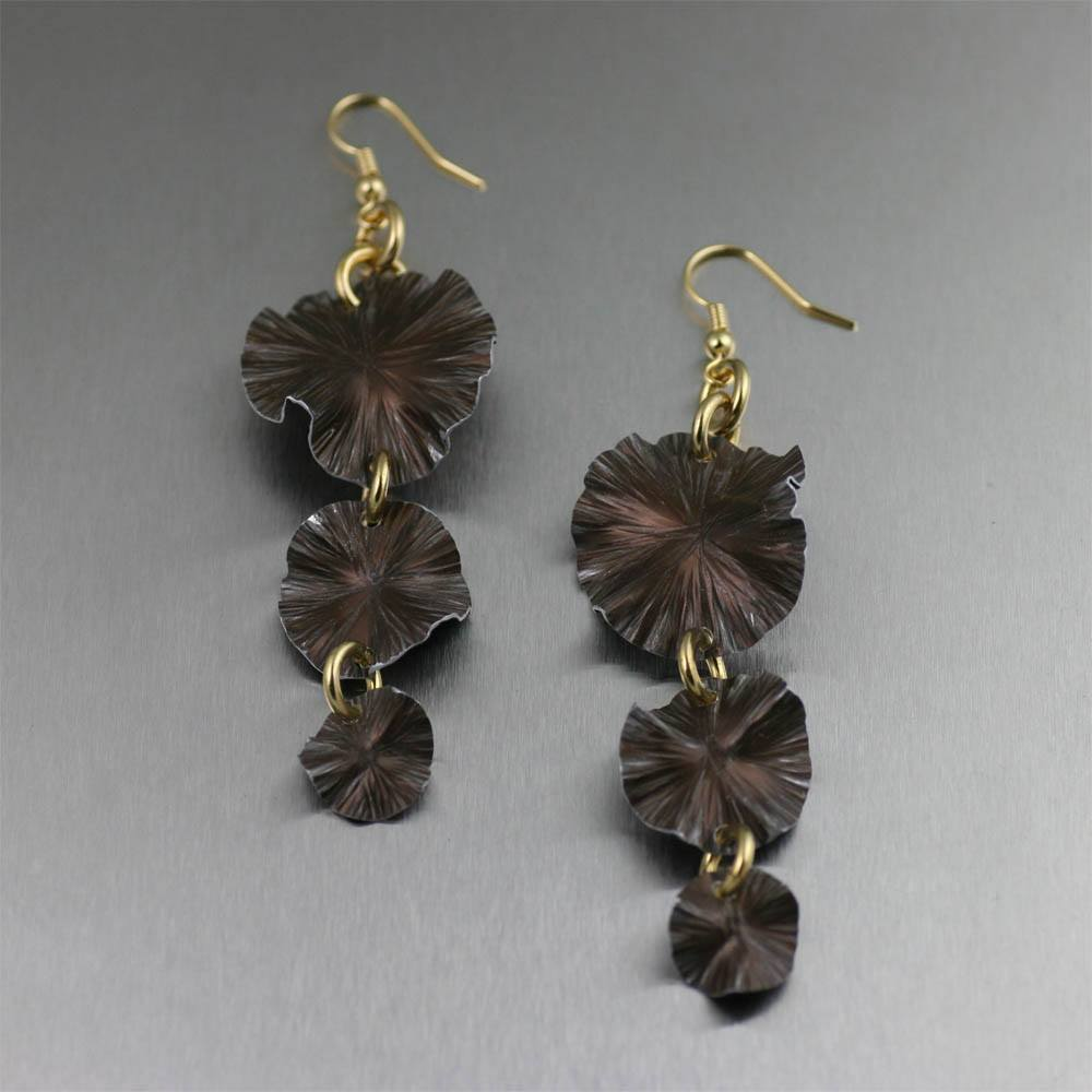 Three Tiered Brown Anodized Aluminum Lily Pad Earrings - johnsbrana