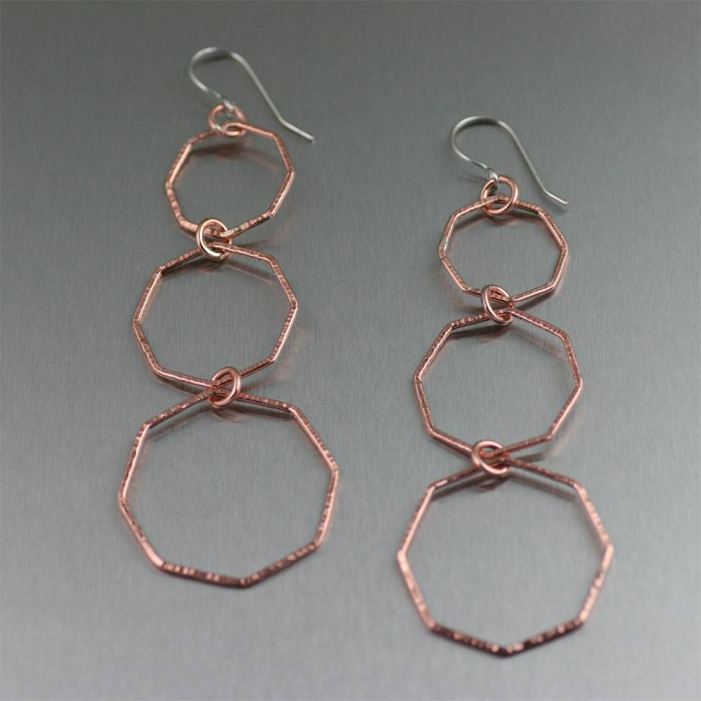 Three Tiered Chased Copper Octagon Earrings - johnsbrana