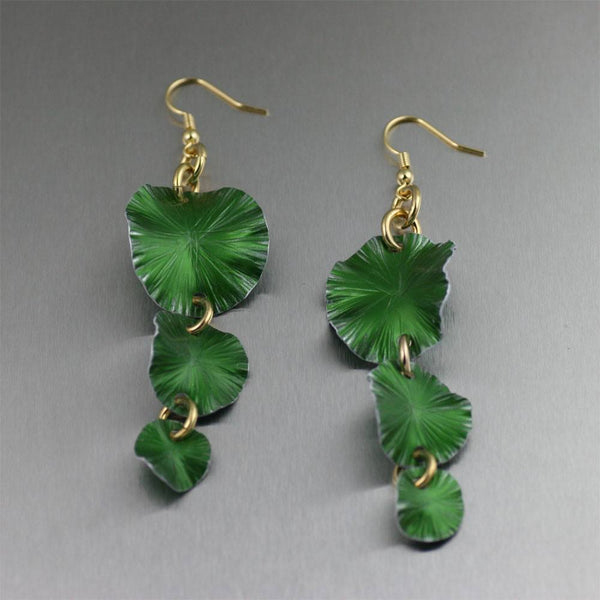 Earrings - Three Tiered Green Anodized Aluminum Lily Pad Earrings