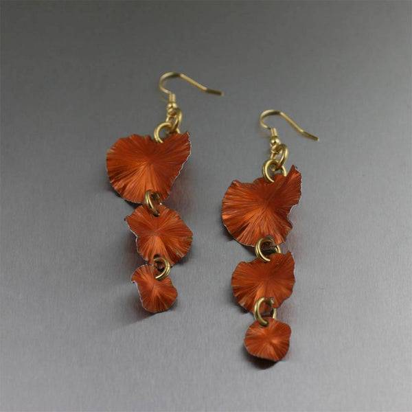 Earrings - Three Tiered Orange Anodized Aluminum Lily Pad Earrings