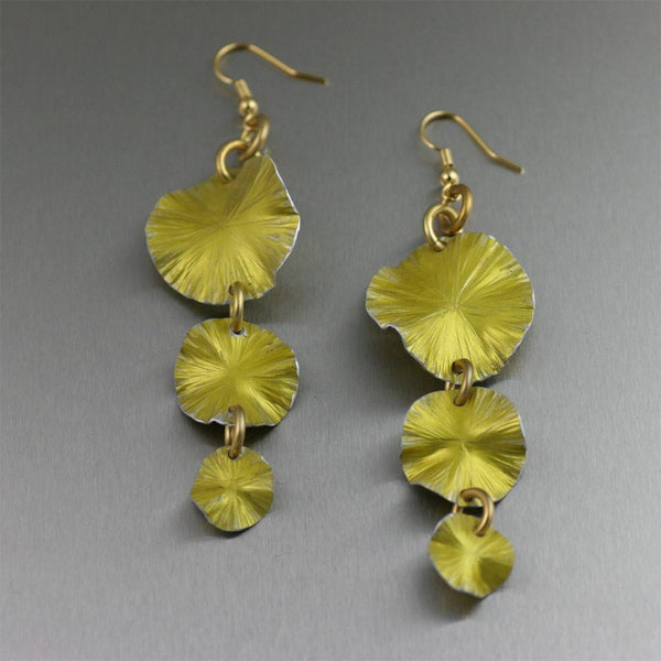 Three Tiered Yellow Anodized Aluminum Lily Pad Earrings - johnsbrana - 1