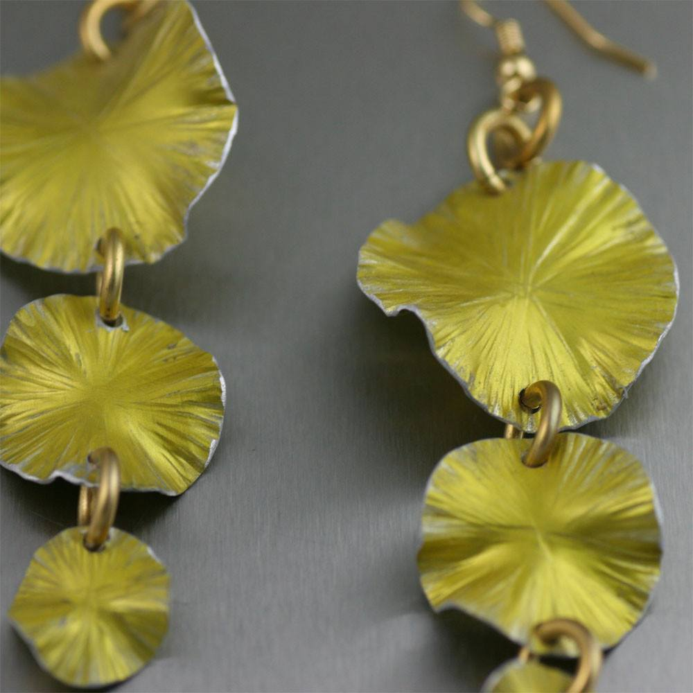 Three Tiered Yellow Anodized Aluminum Lily Pad Earrings - johnsbrana - 2