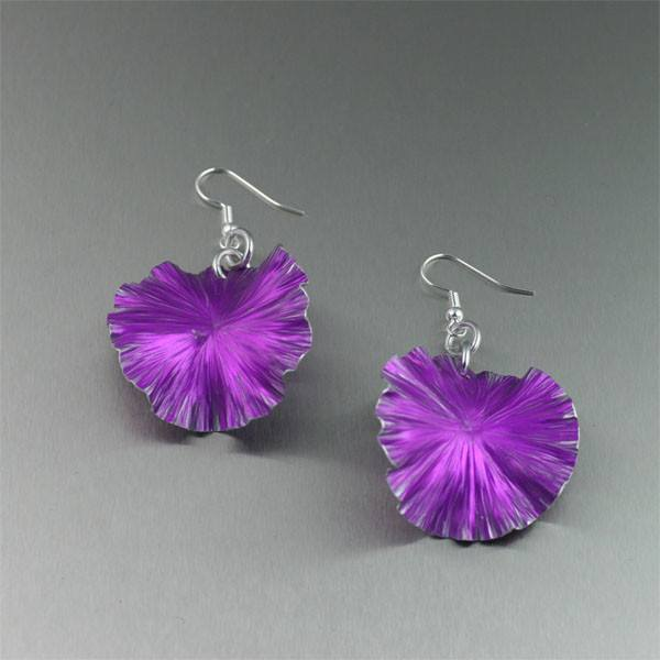 Violet Anodized Aluminum Lily Pad Earrings - Medium - johnsbrana