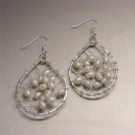 Earrings - White Freshwater Pearl Fine Silver Earrings