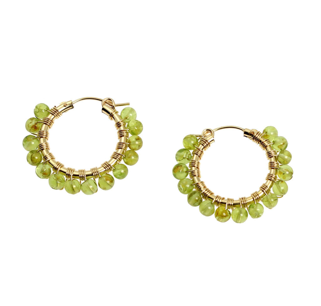 Wire Wrapped 14K Gold-filled Peridot Hoop Earrings - johnsbrana - 1