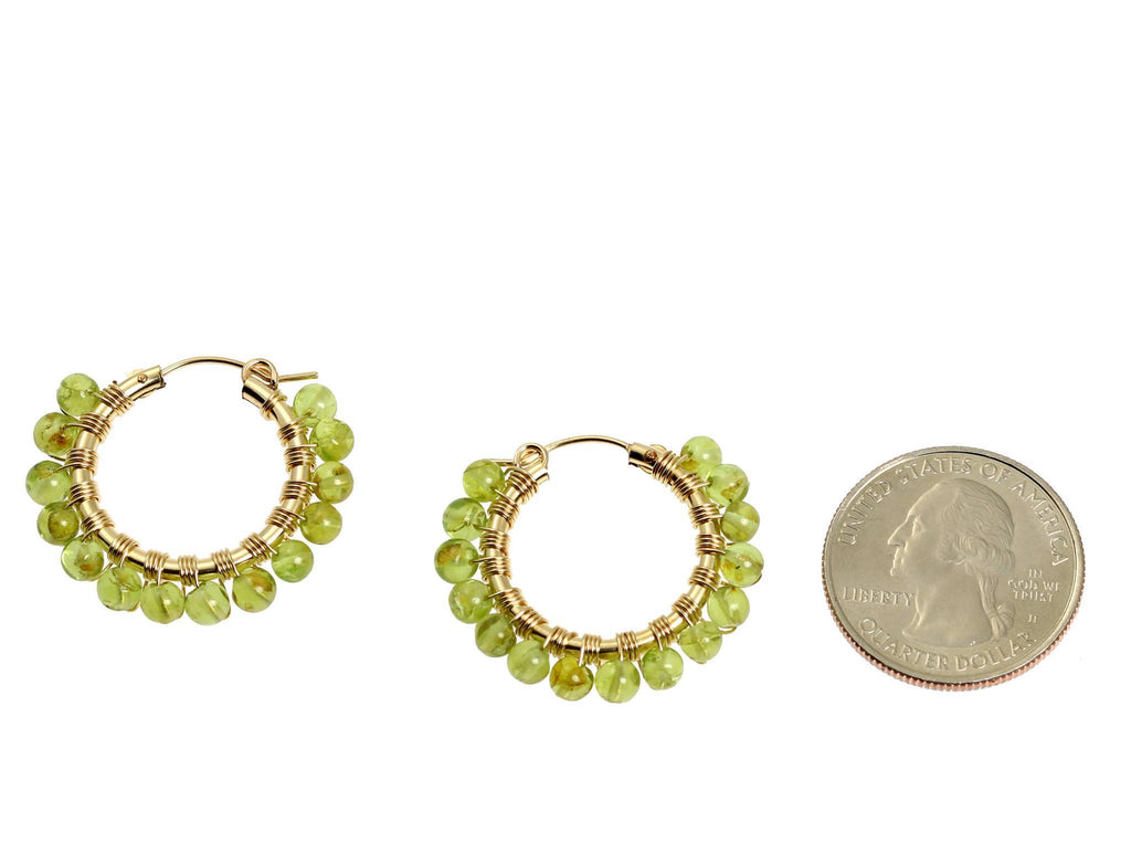Wire Wrapped 14K Gold-filled Peridot Hoop Earrings - johnsbrana - 2