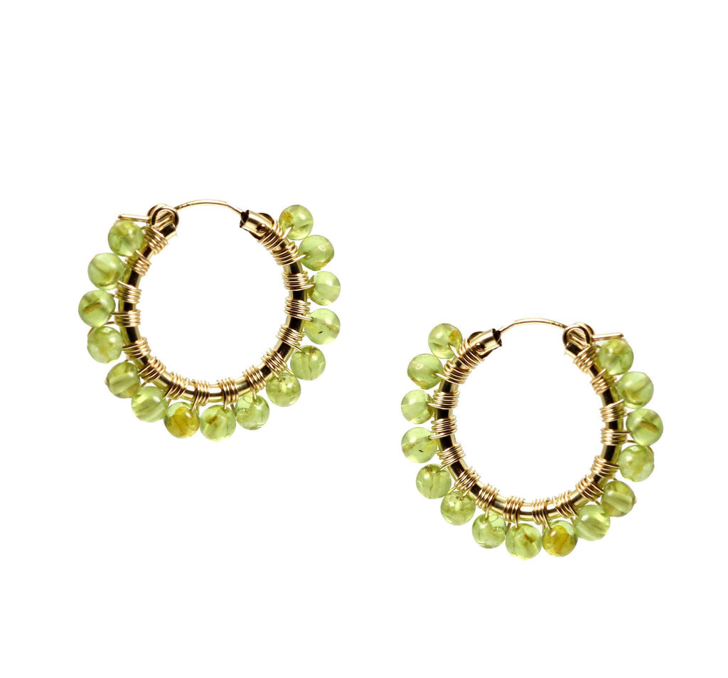 Wire Wrapped 14K Gold-filled Peridot Hoop Earrings - johnsbrana - 3