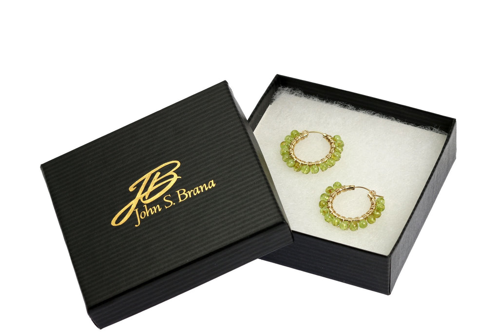 Wire Wrapped 14K Gold-filled Peridot Hoop Earrings - johnsbrana - 4
