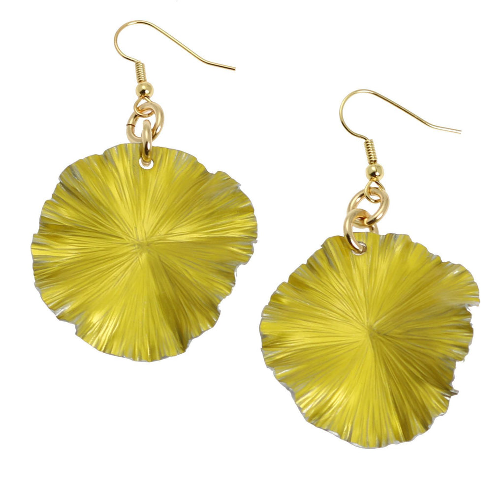 Earrings - Yellow Anodized Aluminum Lily Pad Earrings - Medium
