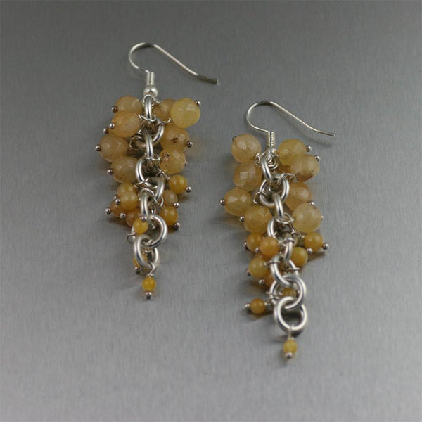 Yellow Jade Chain Maille Earrings - johnsbrana