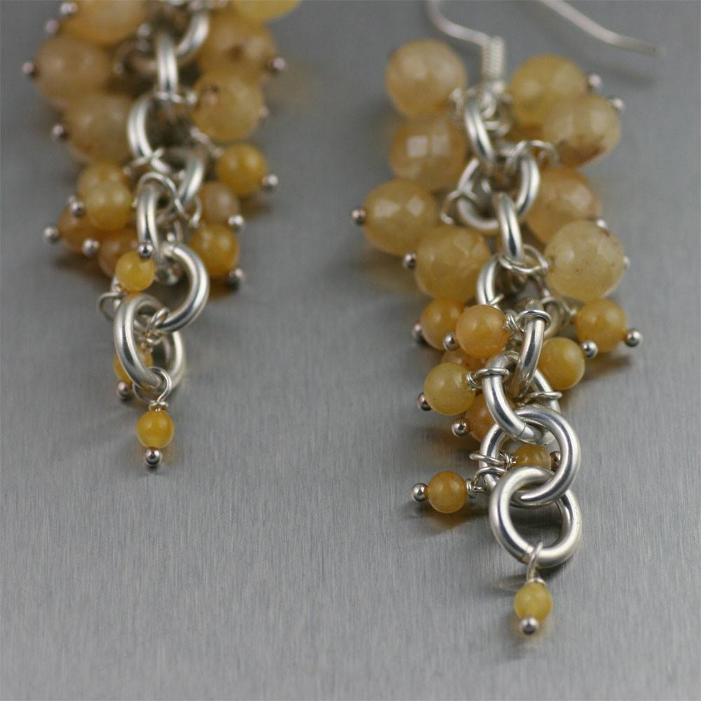 Earrings - Yellow Jade Chain Maille Earrings