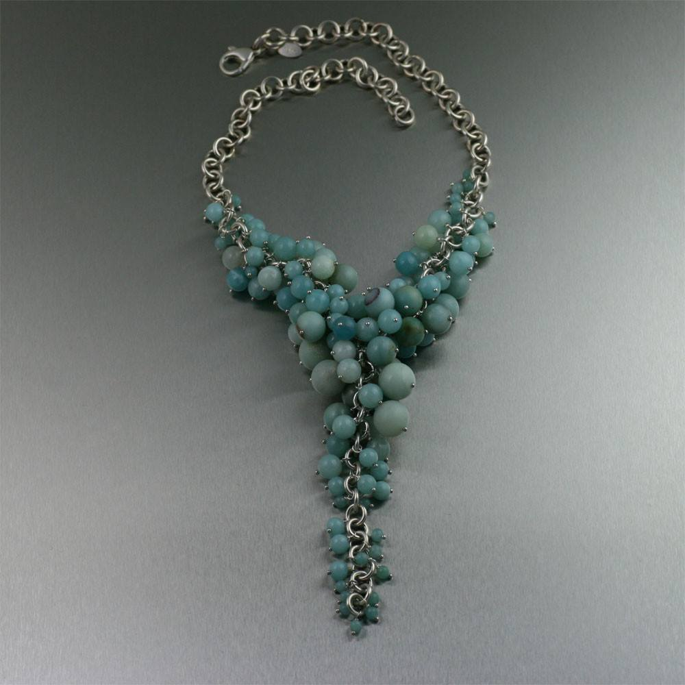 Amazonite Sterling Silver Chain Maille Necklace - johnsbrana - 1