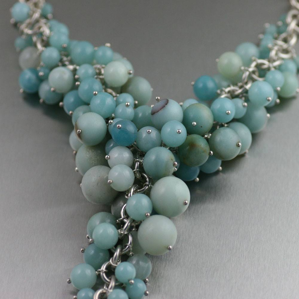 Amazonite Sterling Silver Chain Maille Necklace - johnsbrana - 2