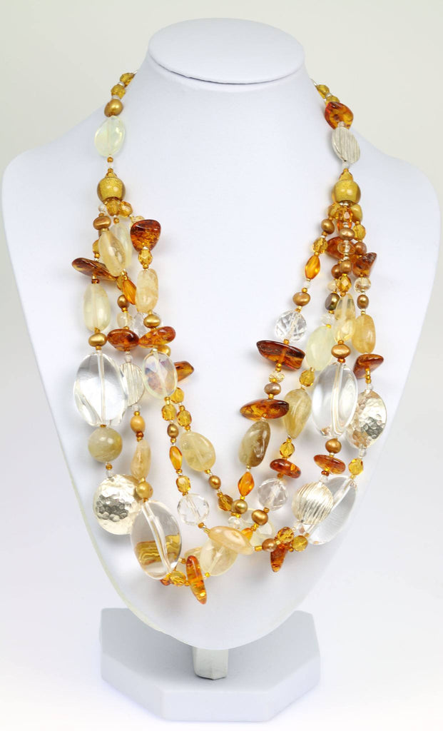 Amber Citrine Crystal Quartz Beaded Gemstone Necklace - johnsbrana - 1