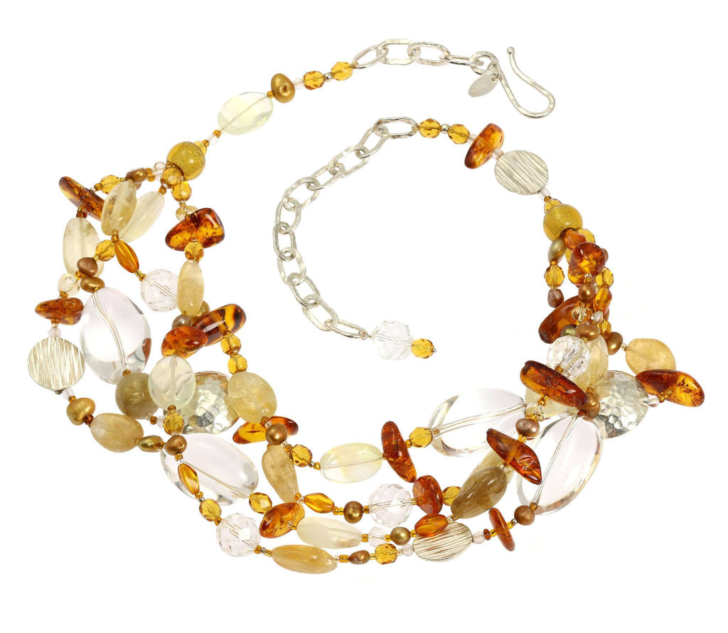 Amber Citrine Crystal Quartz Beaded Gemstone Necklace - johnsbrana - 2