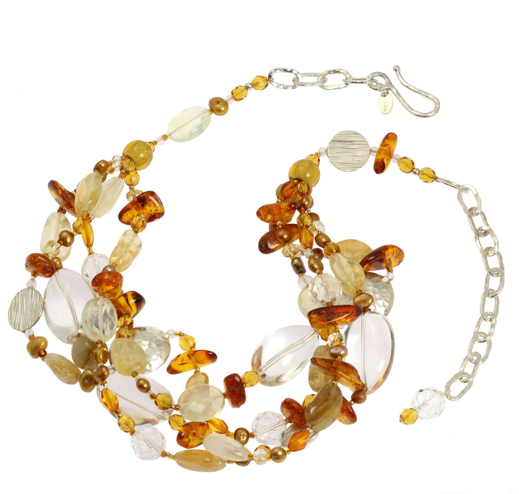 Amber Citrine Crystal Quartz Beaded Gemstone Necklace - johnsbrana - 3