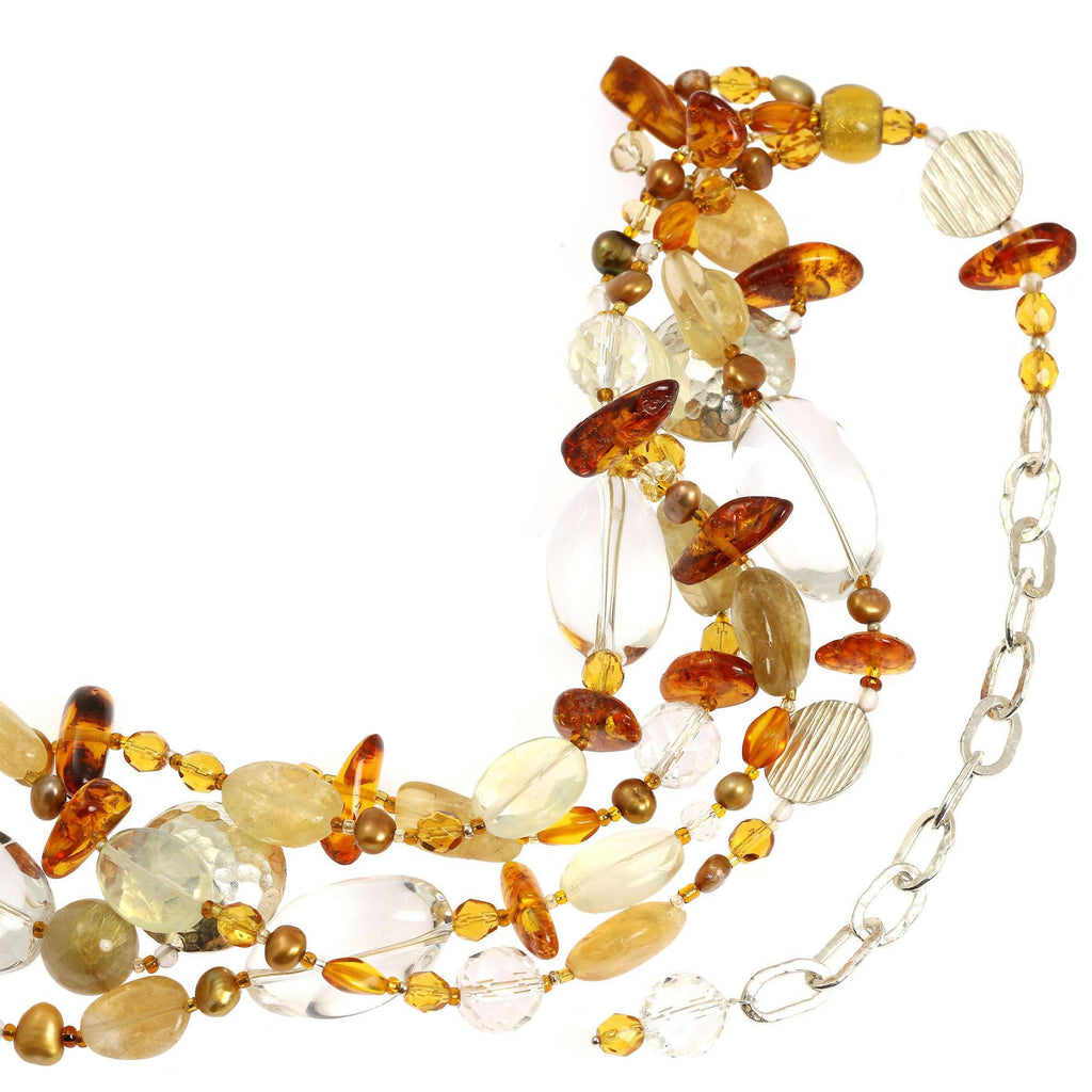 Amber Citrine Crystal Quartz Beaded Gemstone Necklace - johnsbrana - 4