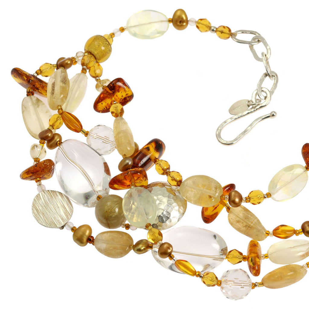 Amber Citrine Crystal Quartz Beaded Gemstone Necklace - johnsbrana - 5