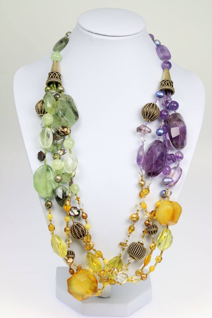 Amber Prehnite Amethyst Citrine Beaded Gemstone Necklace - johnsbrana - 1