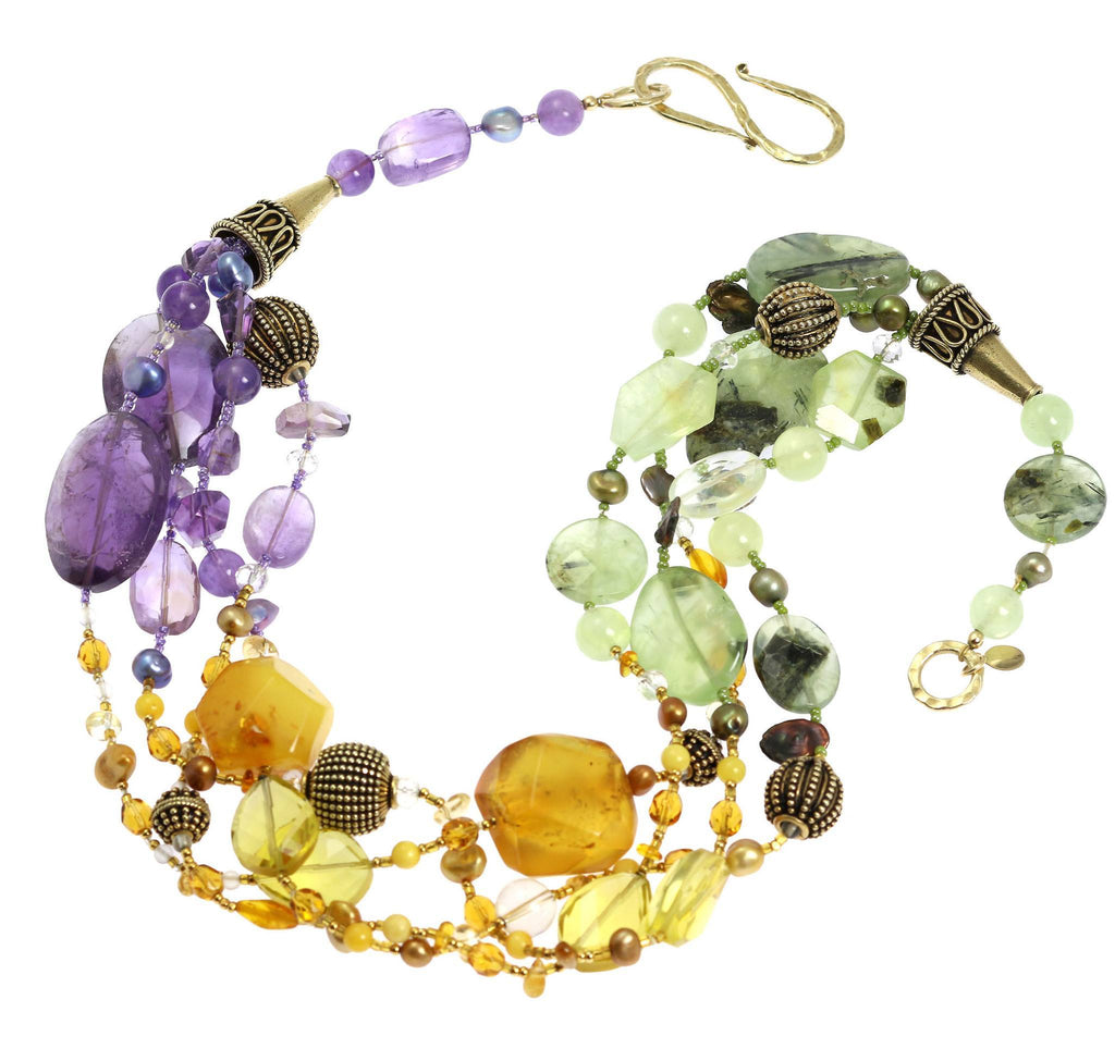Amber Prehnite Amethyst Citrine Beaded Gemstone Necklace - johnsbrana - 2